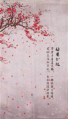 Fabric Door Curtain Falling Leave of Plum Flower Japanese...