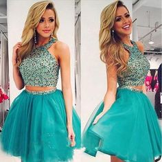 AH001 Two Pieces Homecoming Dresses,Beaded Bodice Halter Green Short Prom Dresses