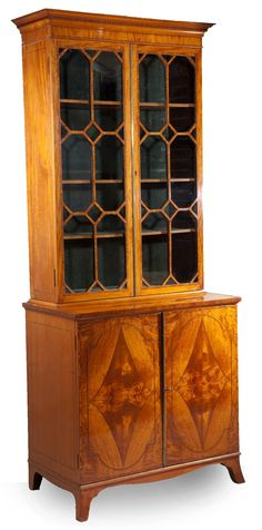 18th century period Sheraton satinwood antique cabinet - English circa 1780