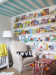Love the book wall/striped ceiling and fun foot rest for a nursery/playroom! Nursery Room, Nursery Decor, Child's Room, Wall Decor, Book Themed Nursery, Wall Art, Nursery Furniture, Furniture Storage, Nursery Design