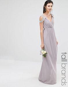 TFNC Tall | TFNC Tall Wedding Cold Shoulder Wrap Front Maxi Dress at ASOS