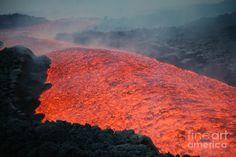 Eruption Of Mount Etna Photograph - Lava Flow During Eruption Of Mount ...