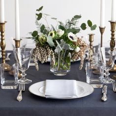 Pure Italian Linen Tablecloth in Slate Charcoal Grey by Huddleson.  Buy Online.  Custom Sizes Available.
