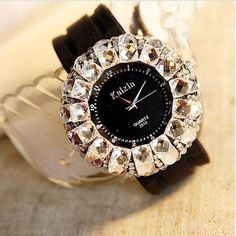 New Rhinestone Trim Rubber Strap Quartz Watches - lilyby Simple Watches, Cute Watches, Retro Watches, Cheap Watches, Sport Watches, Vintage Watches, Women's Watches, Elegant Watches, Watches Online