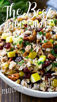 This rice pilaf is made with a wild rice blend, apples, dried cranberries, pecans and fresh herbs.