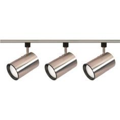 Glomar 3-Light R30 Brushed Nickel Straight Cylinder Track Lighting Kit-HD-TK341 - The Home Depot