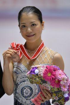Akiko Suzuki of Japan freeskate 2013/2014 NHK Trophy, Grey/Blue Figure Skating / Ice Skating dress inspiration for Sk8 Gr8 Designs.
