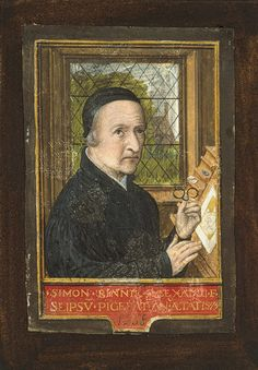 "1558 Bruges: Simon Bening (Benning): Self-Portrait  | Heilbrunn Timeline of Art History | The Metropolitan Museum of Art Bening was the most famous illuminated manuscript artist of the 1500s, made ""The Golf Book"" book of hours in the 1540s. Note: SPECS!"