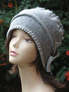 b5f64f7311802 Cloche hat chunky womens Gray ladies winter beanies handmade wool floppy hat  chunky hat womens wool beanies cloche hats 1920s womens hats.
