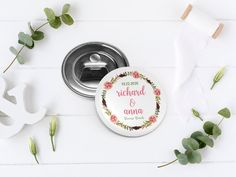 Custom button bottle openers. Great wedding favors for guests. They are a unique and practical idea for your reception. Beautiful floral themed favors will be a useful favor for any guest. 4 designs available! Any text (names, name, date, #hashtag..) Any party (bridal shower favors, baptism favors,
