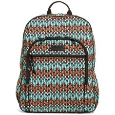 Vera Bradley Campus Backpack in Sierra Stream ($109) ❤ liked on Polyvore featuring bags, backpacks, back to school, sierra stream, strap backpack, rucksack bag, pocket backpack, backpacks bags and black zip bag