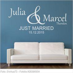 Wandtattoo Hochzeit - Just Married mit Vornamen 02