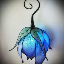 Violet Blue Silk Lily LED Lantern -  Little Wing Faerie Art on Storenvy
