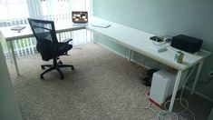 I wanted to have a large corner desk, but unfortunately IKEA GALANT is discontinued. IKEA LINNMON corner desks were not deep enough. So I made one to size. Ikea L Desk, Ikea Corner Desk, Ikea Linnmon Desk, Ikea Gaming Desk, Ikea Ikea, Computer Desks, Ikea Home Office, Diy Office Desk, Home Office Furniture