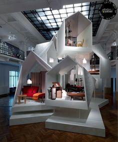 "Scenography of ""les Nécessaires d'Hermès"" - Milan Design Week Design Display, Booth Design, Store Design, Design Comercial, Architecture Design, Exhibition Stand Design, Exhibition Booth, Exhibition Ideas, Museum Exhibition"