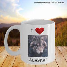Alaska Gift Wolf Coffee Mug I Love Alaska | Etsy