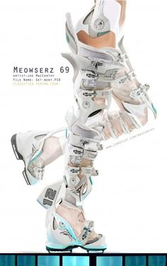 Ivory Fiber Glass-reinforced Programmable Dancing Boots to help you dance the night away at the Techno Discos with your Beau! (by Joe MacCarthy [btip]) Space Fashion, Look Fashion, High Fashion, Fashion Outfits, Fashion Design, Dystopian Fashion, Cyberpunk Fashion, Future Fashion, Character Outfits