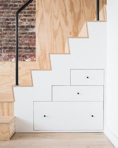 Built in drawers in base of plywood stair