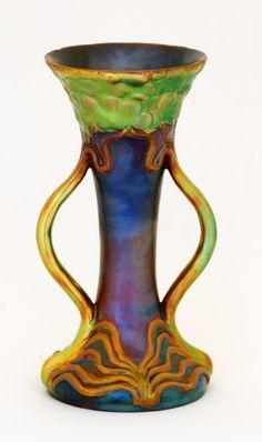 Zsolnay Handled Eosin Vase