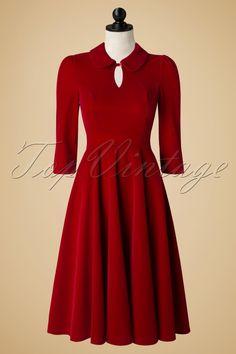Hearts & Roses 50s Florence Velvet Swing Dress in Burgundy