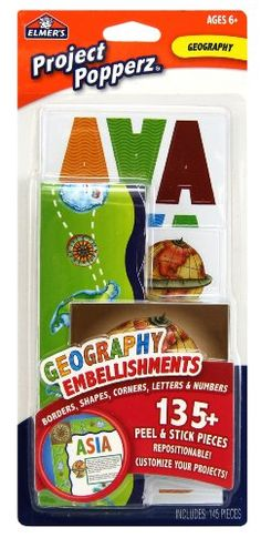 Elmer's Project Popperz Geography Embellishments, 135 Peel and Stick Pieces, Multicolored (E3073) Elmer's http://www.amazon.ca/dp/B0072A93MM/ref=cm_sw_r_pi_dp_k7F0vb07WHDCG