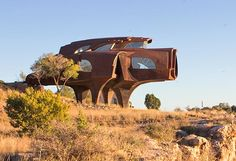 Robert Bruno's Steel House. Unfinished and abandoned in 2008 when he died. Ransom Canyon. Lubbock, Texas