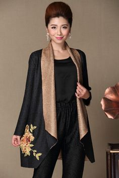 Shop oriental draped linen casual women's coat with floral embroidery. Find latest oriental fashion products from idreammart.com.