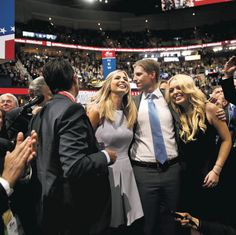 July 20, 2016 DAMON WINTER/THE NEW YORK TIMES CHEERS Ivanka, center, Eric and Tiffany Trump as their father was nominated Tuesday. Page A11.