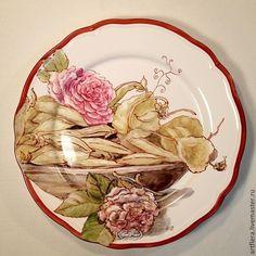 """Тарелка """" Горошек и розы """" - салатовый,тарелка,Тарелка декоративная,тарелка сувенирная"""