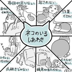Adorable illustration from Japan perfectly depicts the joys of living with cats Cute Cats And Dogs, I Love Cats, Cool Cats, Animals And Pets, Cats And Kittens, Cute Animals, Crazy Cat Lady, Crazy Cats, Living With Cats