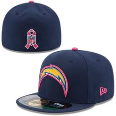 Mens San Diego Chargers New Era Navy Blue 2014 Breast Cancer Awareness On Field  59FIFTY COOLERA 8c03fe45fc43