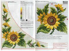 Χειροτεχνήματα: σχέδια με ηλιοτρόπια για κέντημα / sunflower cross stitch patterns