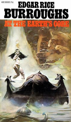 At the Earth's Core by Edgar Rice Burroughs. The first ERB I read, and standing in for all his other books. Here illustrated by the great Frank Frazetta.