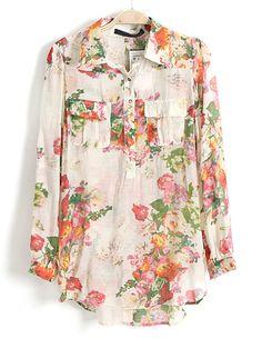 Apricot Lapel Long Sleeve Floral Pockets Blouse - Sheinside.com