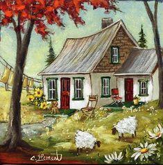 Landscape Artwork, Watercolor Landscape, Watercolor Paintings, Cottage Art, Autumn Painting, Naive Art, Country Art, Painting Inspiration, Folk Art