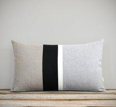 Gray Chambray Black and White Linen Striped Lumbar Pillow by JillianReneDecor