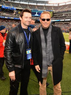 Hugh Jackman and Kevin Costner at the Super Bowl on February 2, 2014.