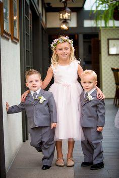 Light pink flower girl dress and gray ring bearer suits