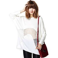 USD17.99Fashion O Neck Long Sleeve Pierced White Cotton T-shirt