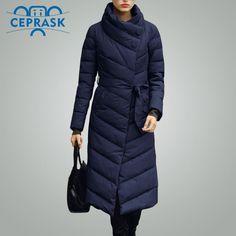28% СКИДКА Ceprask 2018 Высокое Качество женские зимние пуховик Плюс Размер  X долго женский пальто Тонкий Пояс Мода Теплый куртка casaco camperas  купить на ... 7eb0b98162c