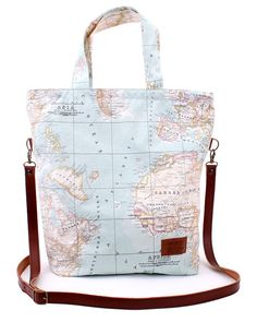 Items similar to TOTE BAG / blue worldmap waterproof fabric / leather handle / monkey lining on Etsy Fabric Bags, Map Fabric, Side Bags, Patchwork Bags, Custom Bags, Waterproof Fabric, Handmade Bags, Purses And Bags, Pouch