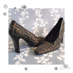 """Authentic Fendi Zucca Pumps Size  8 1/2.  Measures about 10 1/2"""" from heel to toe and 3 1/4"""" at the widest point and 3 3/4"""" heels.  Tobacco Zucca print canvas and square toe pumps with leather trim.  Covered heels.Very good condition with moderate scuffing at soles and a nick on one heel.  No box.  No trades or PayPal. FENDI Shoes Heels"""