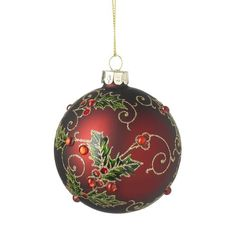 Holly Ball Ornament (Set of The Seasonal Aisle Luxury Christmas Tree, Christmas Tree Baubles, Christmas Ribbon, Christmas Tree Toppers, Christmas Themes, Christmas Crafts, Christmas Bulbs, Christmas Decorations, Handpainted Christmas Ornaments