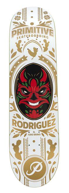 "Paul Rodriguez Luchador (White) Deck - 7.8""   Primitive Skateboarding"