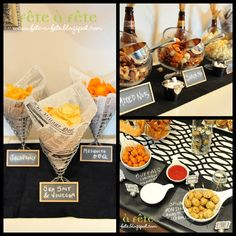 beer party- snack display table ideas | divinepartyconcepts.com