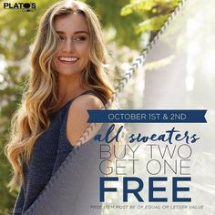 Last day to get a free sweater at our BOGO event.  We're open till 6pm.  See Ya Soon! http://ift.tt/2dmZE3a - http://ift.tt/1HQJd81