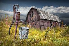 Rustic Barn Water Pump Americana Home decor Weathered Barn | Etsy Wooden Barn, Rustic Barn, Dodge Pickup, Framed Canvas Prints, Wall Prints, Barn Pictures, Odd Pictures, Angel Pictures, Americana Home Decor