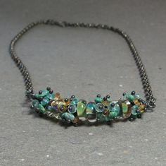 Turquoise Beaded Cluster Necklace . Lampwork Citrine by vickiorion, $158.00