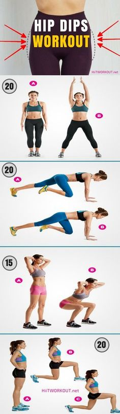 How To Reduce Hip Dips And Get Rid Of Violin Hips All the ladies want to fill out their hips and get a nicely shaped beach body. That's exactly what this hip dips workout. Reduce Hips, Reduce Weight, Dip Workout, Week Workout, Workout Fitness, Workout Plans, Fitness Goals, Fitness Motivation, Hip Dip Exercise