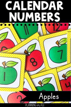 Apple Calendar Numbers for your classroom calendar - perfect for September or an apples theme!   Includes red and green apple calendar numbers in an AB pattern, matching month labels, year cards, and special days/holiday cards.  Can be used in a pocket chart calendar, a homemade poster board calendar, or for various number activities.  #applestheme #classroomcalendar #calendarnumbers Calendar Activities, Number Activities, Back To School Activities, School Ideas, September Activities, Autumn Activities, Kindergarten Classroom, Kindergarten Activities, Homemade Posters